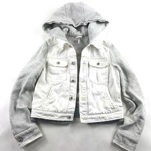 Free People Knit Hooded White Denim Jean Jacket XS